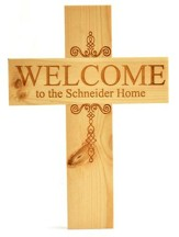 Personalized, Natural Pine Cross, Welcome, Medium
