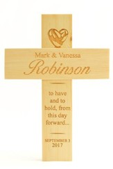 Personalized, Natural Pine Cross, Wedding, Medium