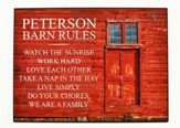 Personalized, Plaque with Red Barn Door, Barn Rules,  Large