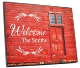 Personalized, Plaque with Barn Door, Welcome, Red