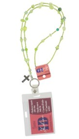 Badge Holder, Beaded, with Cross Charm, Green