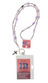 Badge Holder, Beaded, with Cross Charm, Purple