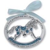 Protect Me While I Sleep Crib Charm, Blue Rocking Horse