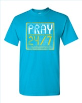 Pray 24/7 Shirt, Turquoise, Small