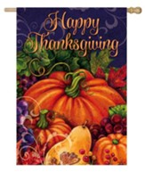 Happy Thanksgiving, Harvest Pumpkin Flag, Large