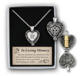 Always In My Heart Memorial Necklace, Pewter