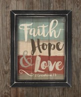 Faith, Hope, & Love, Pallet Framed Art