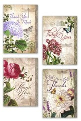 Thank You Cards, Purple Florals, Box of 12
