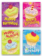 Kids Birthday Cards, Whimsy Cupcake, Box of 12
