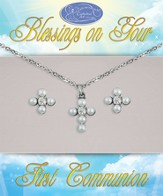 First Communion Earrings and Pendant Set