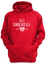 No Greater Love Hooded Sweatshirt, Red, X-Large
