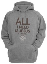 Jesus/Coffee Hooded Sweatshirt, Gray, Medium