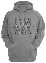 John 3:16 Hooded Sweatshirt, Gray, X-Large