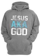 Jesus Aka God Hooded Sweatshirt, Grey, Medium