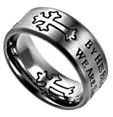 By His Blood, Neo Cross Scripture Ring, Silver, Size 10