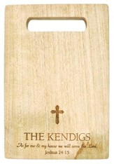 Personalized, Mango Cutting Board, With Cross