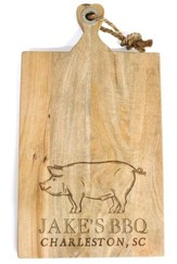 Personalized, Mango Cutting Board, XL, BBQ with Pig
