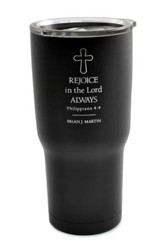 Personalized, Metal Tumbler, Rejoice in the Lord, Black