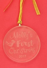 Personalized, Glass Ornament, Round, Baby's First  Christmas