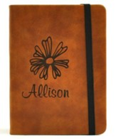 Personalized, Leather Notebook, with Flower, Small, Tan