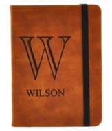Personalized, LEather Notebook, Monogram, Small, Tan