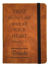 Personalized, Leather Notebook, Trust In The Lord,  Small, Tan