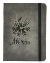 Personalized, Leather Notebook, with Flower, Small,Gray
