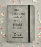 Personalized, Leather Notebook, Trust In The Lord, Small, Grey