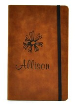 Personalized, Leather Notebook, with Flower, Large, Tan