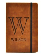 Personalized, Leather Notebook, Monogram, Large, Tan