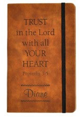 Personalized, Leather Notebook, Trust In The Lord,  Large, Tan