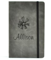 Personalized, Leather Notebook, with Flower, Large,Gray