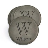 Personalized, Leather Coaster, with Monogram, Grey