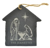 Personalized, Ornament, House, Slate, Large, Nativity