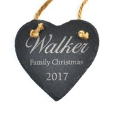Personalized, Slate Ornament, Family Christmas, Heart