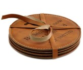 Personalized, Leather Coaster Set, Round, Be Still, Tan