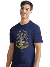 Anchor Waves Shirt, Blue, Large, Unisex