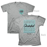 Thankful Grateful Blessed Shirt, Gray, 4X