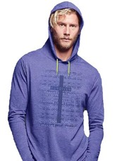 Forgiven, Hooded Long Sleeve Shirt, Blue Heather, Large