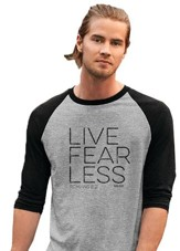 Live Fearless, 3/4 Raglan Sleeve Shirt, Sport Grey/Black, Small