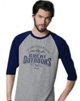 Great Outdoors, 3/4 Raglan Sleeve Shirt, Sport Grey/Navy, Large