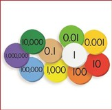 10-Value Decimals to Whole Numbers Place Value Discs Set, Grades 1-6