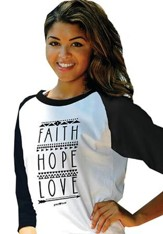 Faith Hope Love, 3/4 Raglan Sleeve Shirt, Black, Large