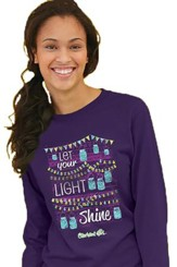 Let Your Light Shine, Jar Lights, Long Sleeve Shirt, Deep Purple, Large