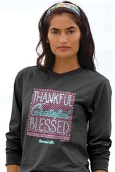 Thankful Grateful Blessed, Long Sleeve Shirt, Charcoal Grey, XX-Large