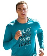 Play Hard, Long Sleeve Active Shirt, Sapphire Blue, XX-Large