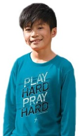 Play Hard, Long Sleeve Shirt, Sapphire Blue, Youth Medium