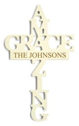 Personalized, Amazing Grace Cross, White