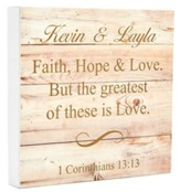 Personalized, Boxed Sign, Square, Faith Hope Love
