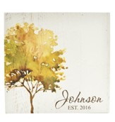 Personalized, Wooden Box Sign, with Tree, Family